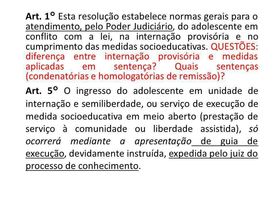 Art. 1° Esta resolução estabelece normas gerais para o atendimento, pelo Poder Judiciário, do adolescente em conflito com a lei, na internação provisó