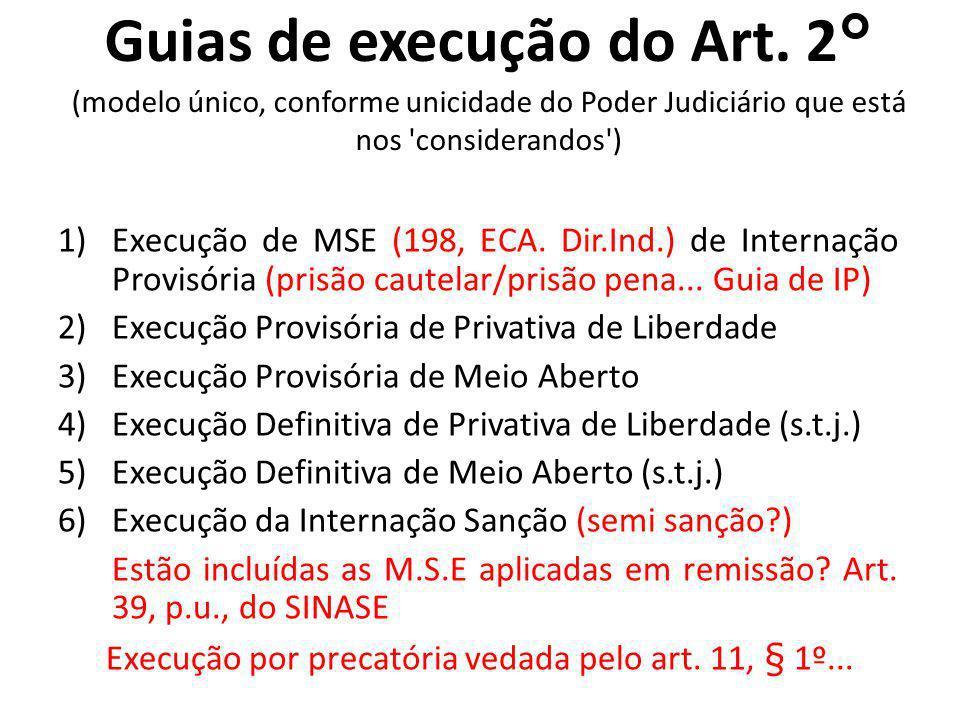 Guias de execução do Art. 2° (modelo único, conforme unicidade do Poder Judiciário que está nos 'considerandos') 1)Execução de MSE (198, ECA. Dir.Ind.