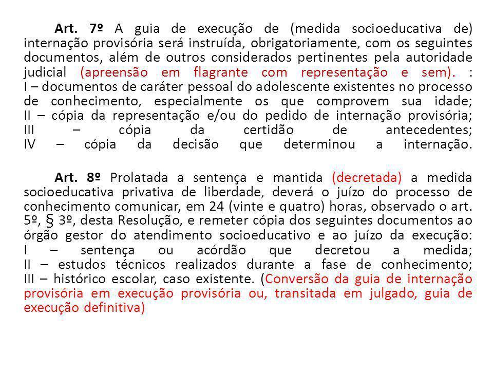 Art. 7º A guia de execução de (medida socioeducativa de) internação provisória será instruída, obrigatoriamente, com os seguintes documentos, além de