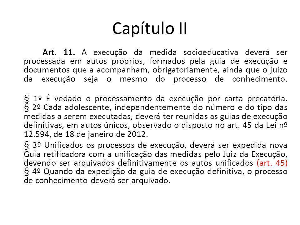 Capítulo II Art. 11. A execução da medida socioeducativa deverá ser processada em autos próprios, formados pela guia de execução e documentos que a ac