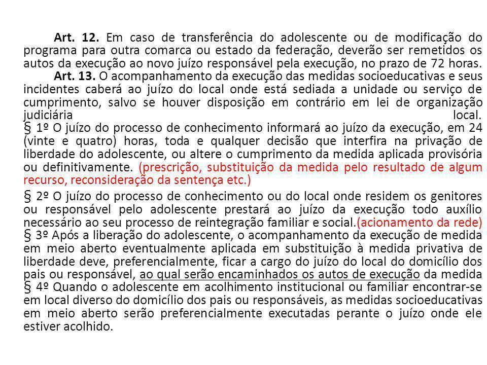 Art. 12. Em caso de transferência do adolescente ou de modificação do programa para outra comarca ou estado da federação, deverão ser remetidos os aut