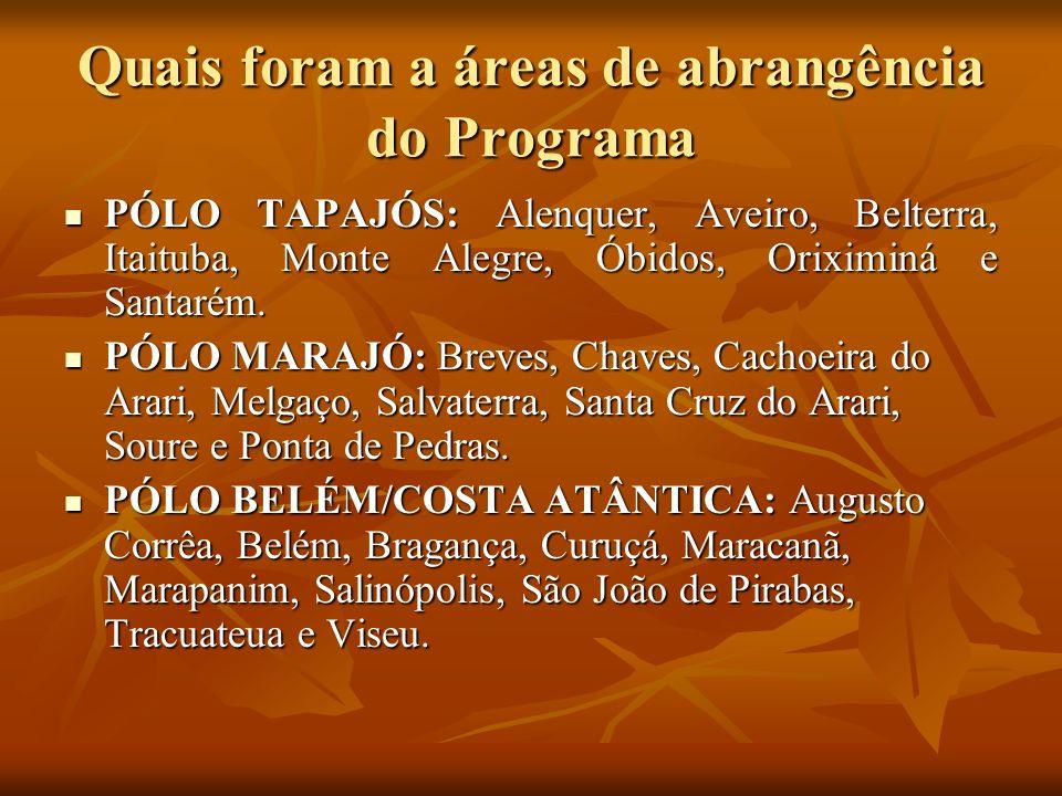 Quais foram a áreas de abrangência do Programa PÓLO TAPAJÓS: Alenquer, Aveiro, Belterra, Itaituba, Monte Alegre, Óbidos, Oriximiná e Santarém. PÓLO TA