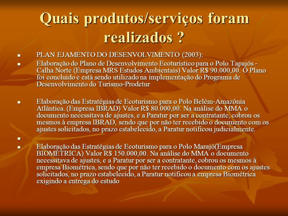 Quais produtos/serviços foram realizados ? PLAN EJAMENTO DO DESENVOLVIMENTO (2003): PLAN EJAMENTO DO DESENVOLVIMENTO (2003): Elaboração do Plano de De