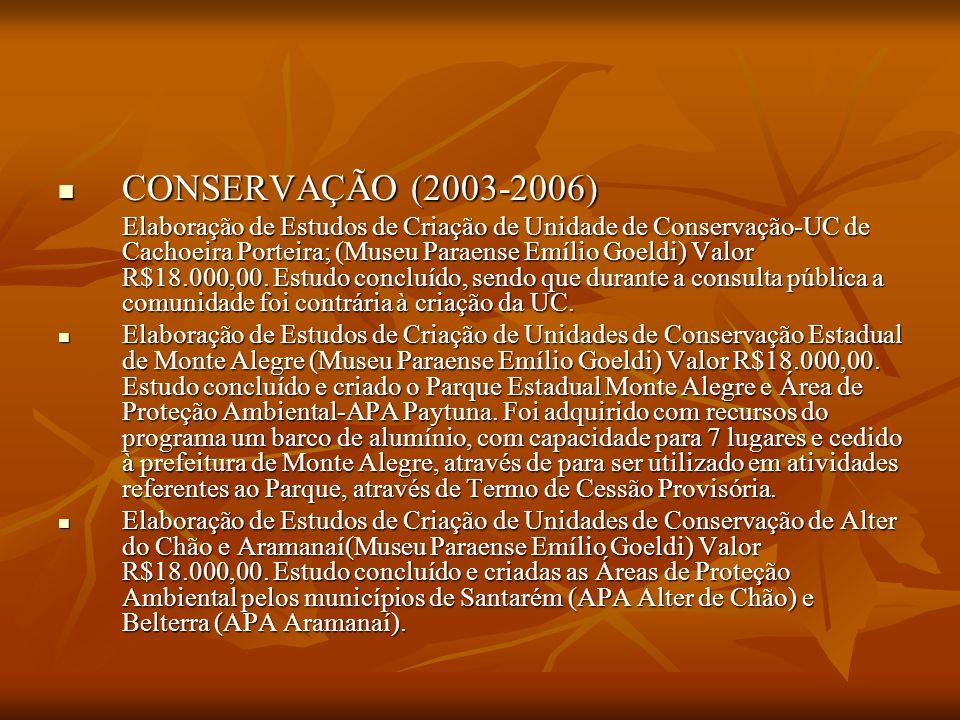 CONSERVAÇÃO (2003-2006) CONSERVAÇÃO (2003-2006) Elaboração de Estudos de Criação de Unidade de Conservação-UC de Cachoeira Porteira; (Museu Paraense E