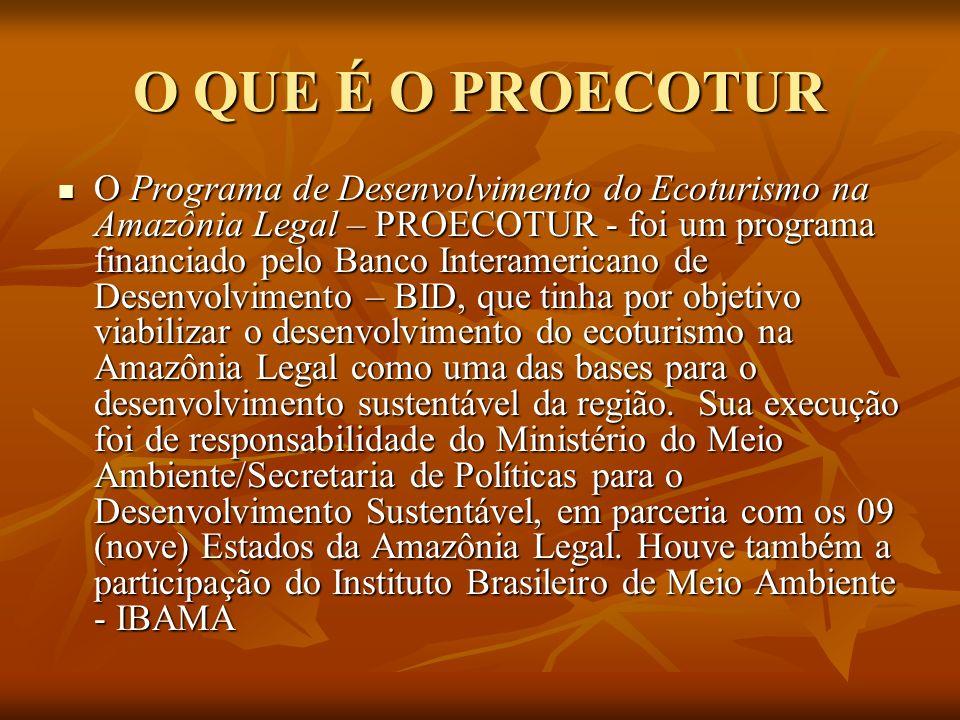 O QUE É O PROECOTUR O Programa de Desenvolvimento do Ecoturismo na Amazônia Legal – PROECOTUR - foi um programa financiado pelo Banco Interamericano d