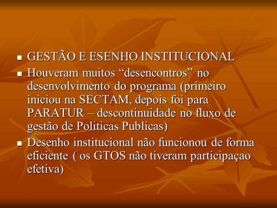 GESTÃO E ESENHO INSTITUCIONAL GESTÃO E ESENHO INSTITUCIONAL Houveram muitos desencontros no desenvolvimento do programa (primeiro iniciou na SECTAM, d
