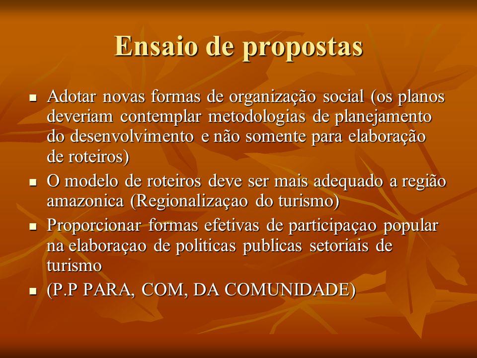 Ensaio de propostas Adotar novas formas de organização social (os planos deveriam contemplar metodologias de planejamento do desenvolvimento e não som