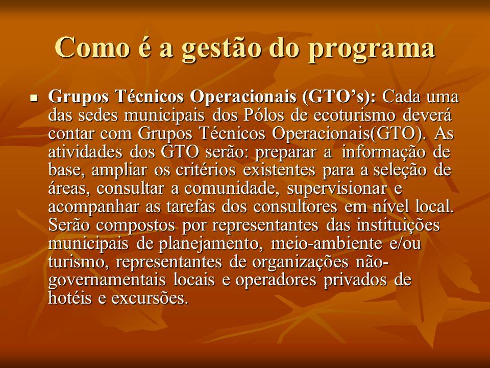 Como é a gestão do programa Grupos Técnicos Operacionais (GTOs): Cada uma das sedes municipais dos Pólos de ecoturismo deverá contar com Grupos Técnic