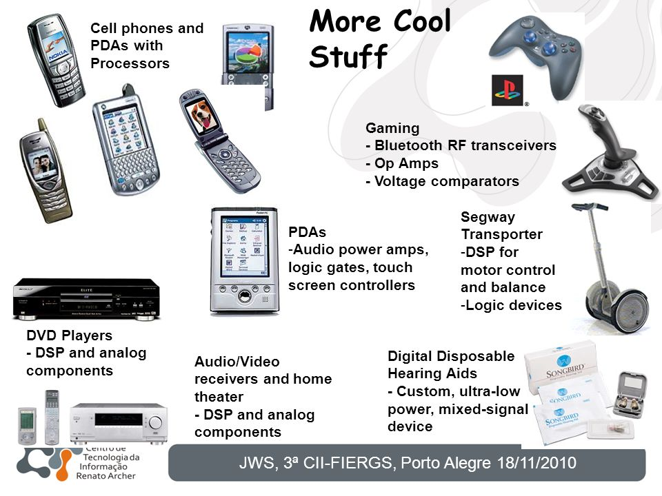 Cell phones and PDAs with Processors Gaming - Bluetooth RF transceivers - Op Amps - Voltage comparators DVD Players - DSP and analog components Audio/