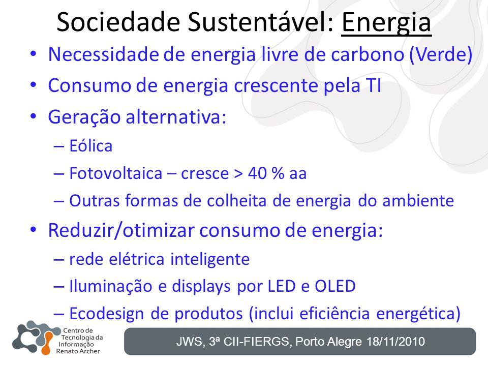 Sociedade Sustentável: Energia Necessidade de energia livre de carbono (Verde) Consumo de energia crescente pela TI Geração alternativa: – Eólica – Fo