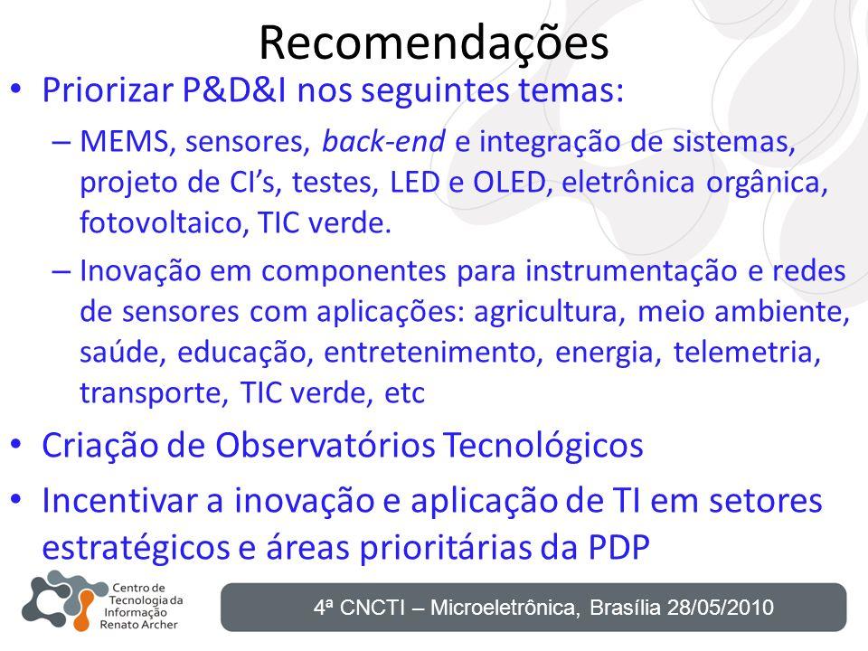 Recomendações Priorizar P&D&I nos seguintes temas: – MEMS, sensores, back-end e integração de sistemas, projeto de CIs, testes, LED e OLED, eletrônica