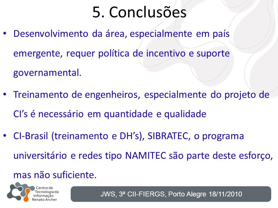 5. Conclusões Desenvolvimento da área, especialmente em país emergente, requer política de incentivo e suporte governamental. Treinamento de engenheir