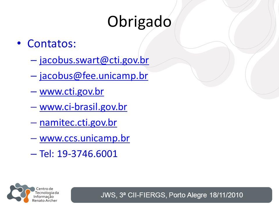 Obrigado Contatos: – jacobus.swart@cti.gov.br jacobus.swart@cti.gov.br – jacobus@fee.unicamp.br jacobus@fee.unicamp.br – www.cti.gov.br www.cti.gov.br