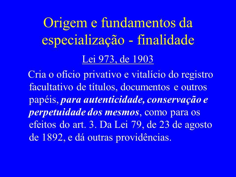 Origem e fundamentos da especialização - finalidade Lei 973, de 1903 Cria o ofício privativo e vitalício do registro facultativo de títulos, documento