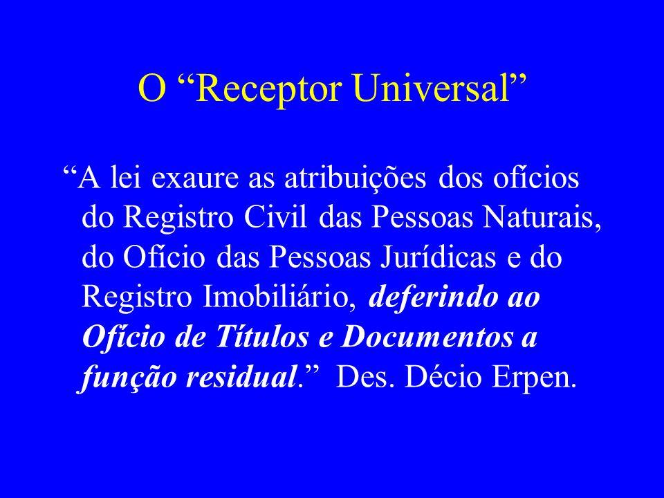 O Receptor Universal A lei exaure as atribuições dos ofícios do Registro Civil das Pessoas Naturais, do Ofício das Pessoas Jurídicas e do Registro Imo