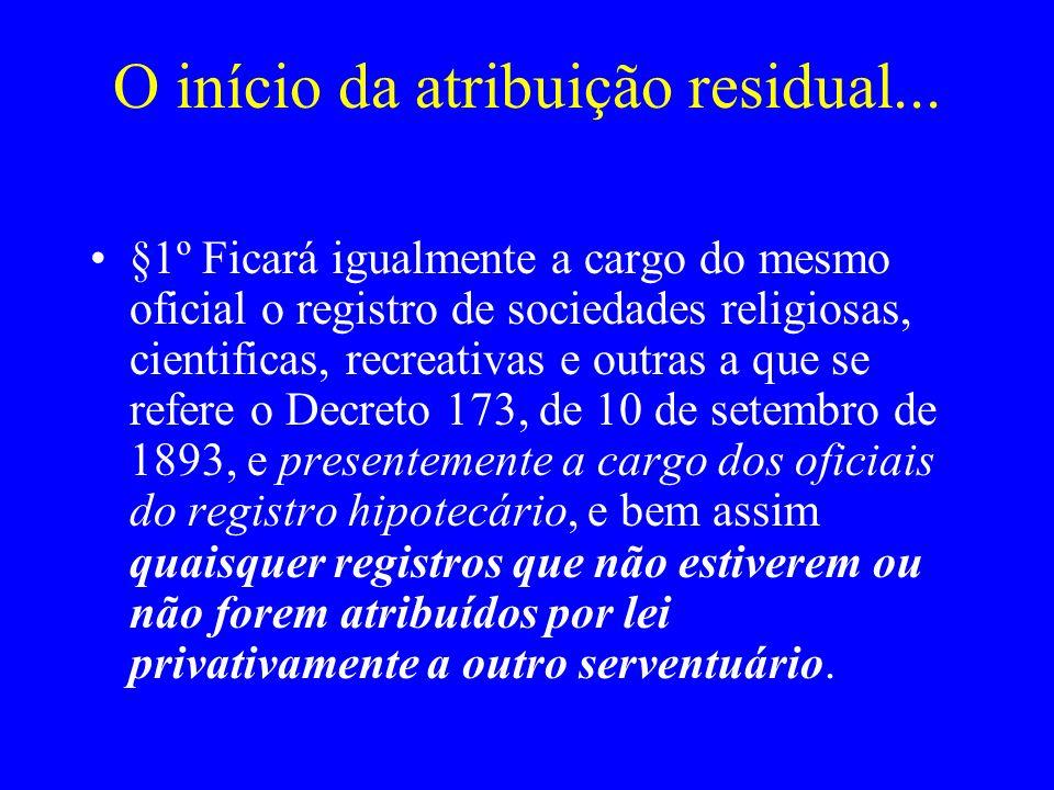 O início da atribuição residual... §1º Ficará igualmente a cargo do mesmo oficial o registro de sociedades religiosas, cientificas, recreativas e outr