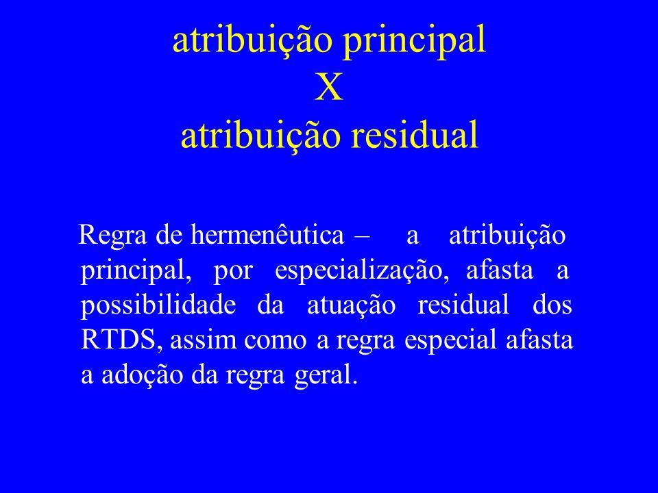 atribuição principal X atribuição residual Regra de hermenêutica – a atribuição principal, por especialização, afasta a possibilidade da atuação resid