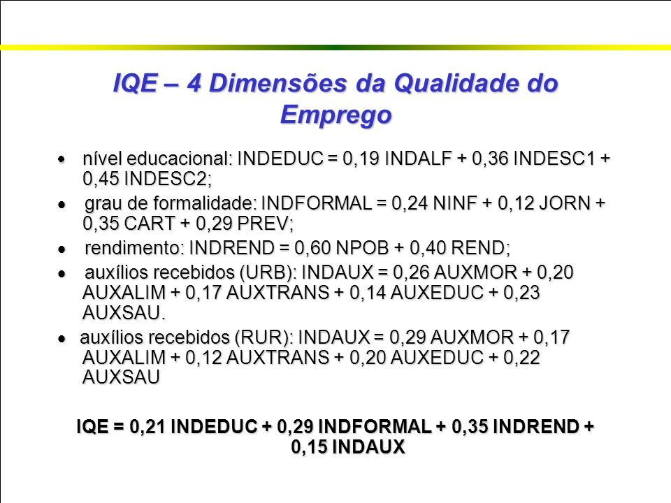 IQE – 4 Dimensões da Qualidade do Emprego nível educacional: INDEDUC = 0,19 INDALF + 0,36 INDESC1 + 0,45 INDESC2; nível educacional: INDEDUC = 0,19 INDALF + 0,36 INDESC1 + 0,45 INDESC2; grau de formalidade: INDFORMAL = 0,24 NINF + 0,12 JORN + 0,35 CART + 0,29 PREV; grau de formalidade: INDFORMAL = 0,24 NINF + 0,12 JORN + 0,35 CART + 0,29 PREV; rendimento: INDREND = 0,60 NPOB + 0,40 REND; rendimento: INDREND = 0,60 NPOB + 0,40 REND; auxílios recebidos (URB): INDAUX = 0,26 AUXMOR + 0,20 AUXALIM + 0,17 AUXTRANS + 0,14 AUXEDUC + 0,23 AUXSAU.