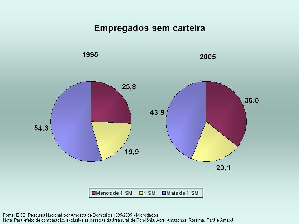 Empregados sem carteira Fonte: IBGE, Pesquisa Nacional por Amostra de Domicílios 1995/2005 - Microdados Nota: Para efeito de comparação, exclusive as