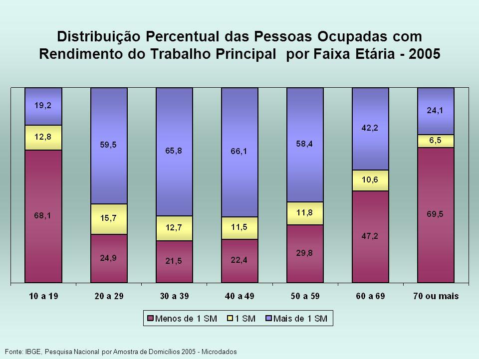 Distribuição Percentual das Pessoas Ocupadas com Rendimento do Trabalho Principal por Faixa Etária - 2005 Fonte: IBGE, Pesquisa Nacional por Amostra d