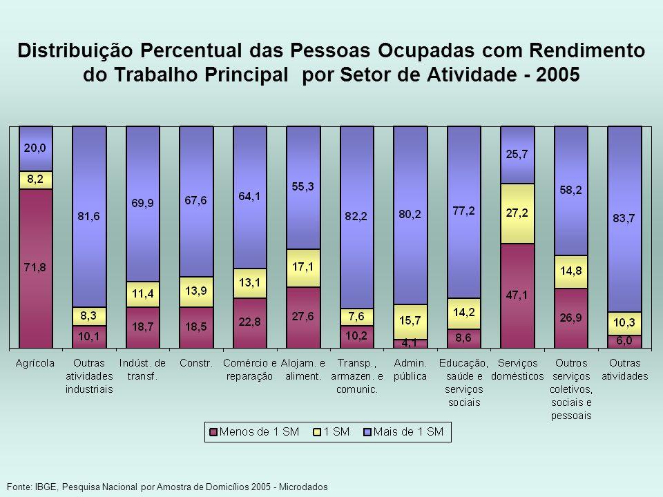 Distribuição Percentual das Pessoas Ocupadas com Rendimento do Trabalho Principal por Setor de Atividade - 2005 Fonte: IBGE, Pesquisa Nacional por Amo