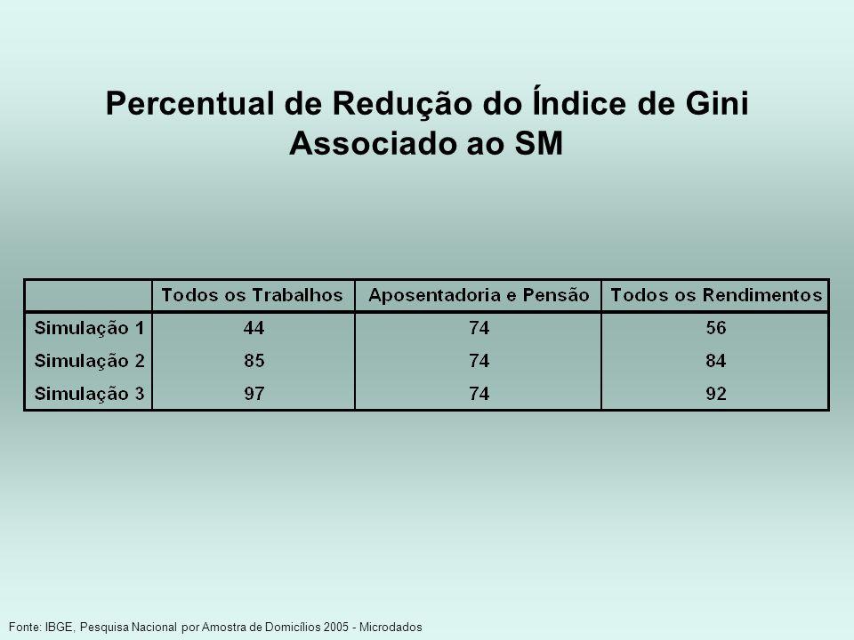 Percentual de Redução do Índice de Gini Associado ao SM Fonte: IBGE, Pesquisa Nacional por Amostra de Domicílios 2005 - Microdados