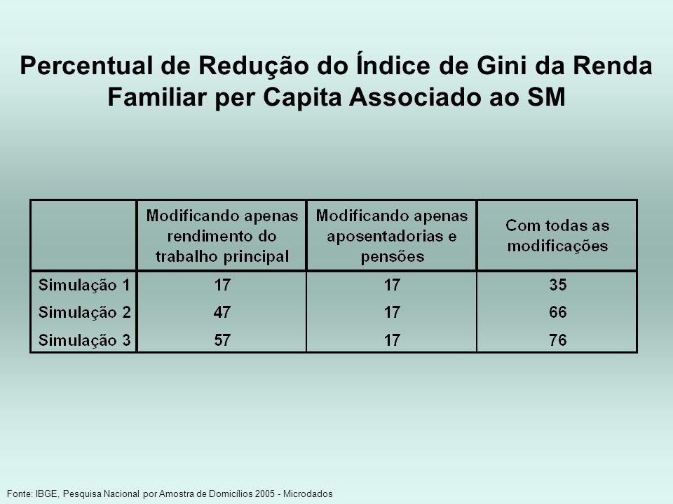 Percentual de Redução do Índice de Gini da Renda Familiar per Capita Associado ao SM Fonte: IBGE, Pesquisa Nacional por Amostra de Domicílios 2005 - M