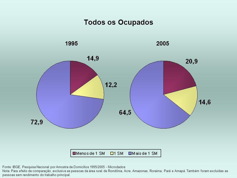 Todos os Ocupados Fonte: IBGE, Pesquisa Nacional por Amostra de Domicílios 1995/2005 - Microdados Nota: Para efeito de comparação, exclusive as pessoa