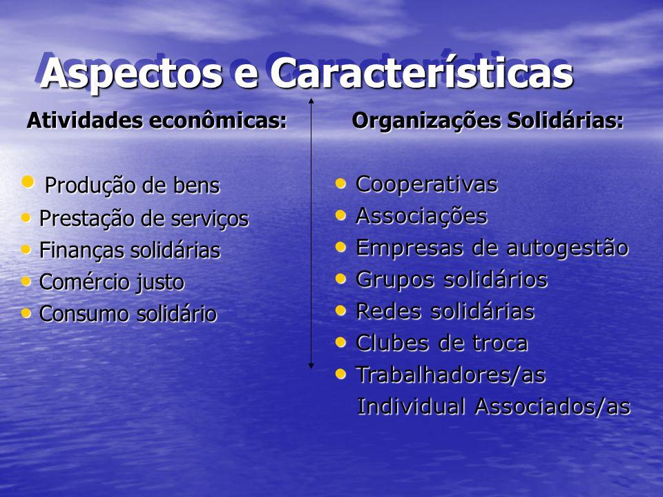 Aspectos e Características Atividades econômicas: Produção de bens Produção de bens Prestação de serviços Prestação de serviços Finanças solidárias Fi