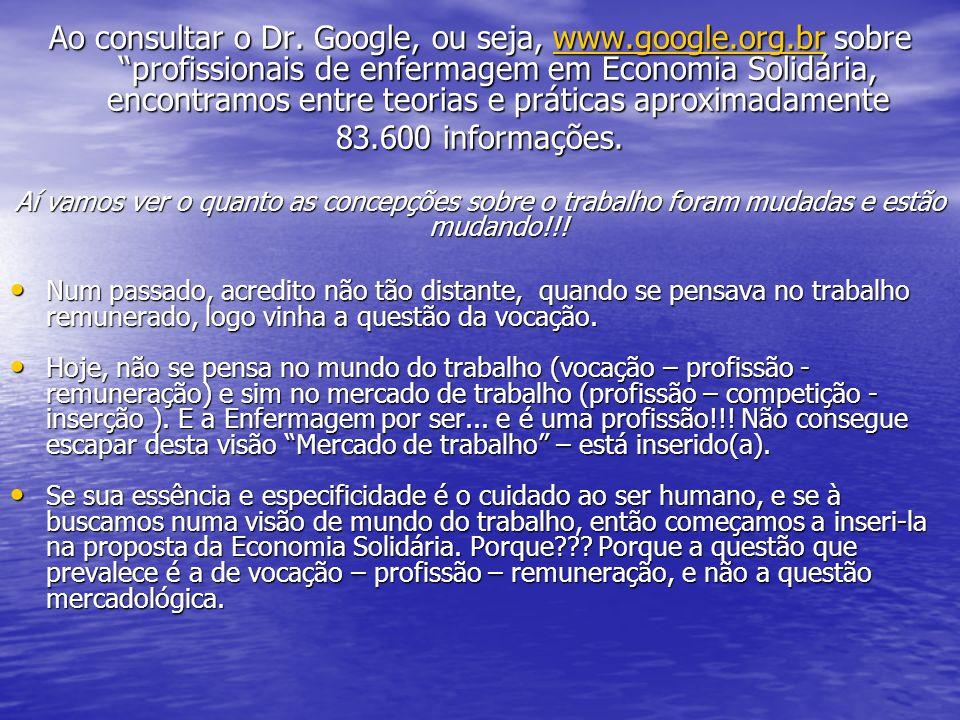 Ao consultar o Dr. Google, ou seja, www.google.org.br sobre profissionais de enfermagem em Economia Solidária, encontramos entre teorias e práticas ap