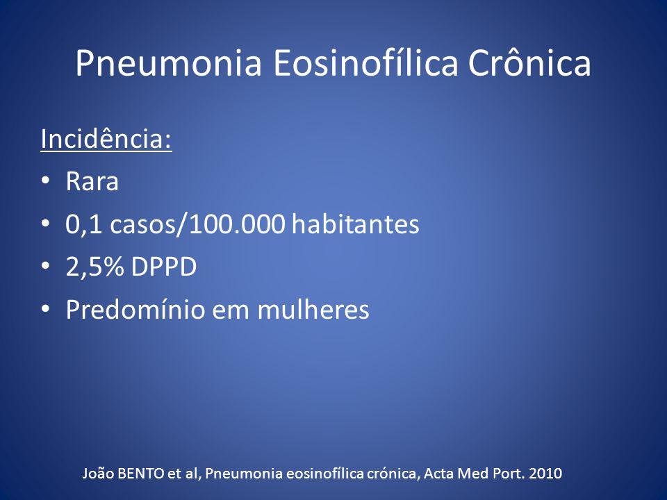Pneumonia Eosinofílica Crônica Incidência: Rara 0,1 casos/100.000 habitantes 2,5% DPPD Predomínio em mulheres João BENTO et al, Pneumonia eosinofílica