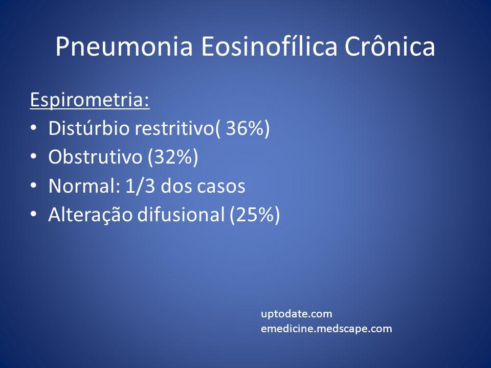 Pneumonia Eosinofílica Crônica Espirometria: Distúrbio restritivo( 36%) Obstrutivo (32%) Normal: 1/3 dos casos Alteração difusional (25%) uptodate.com