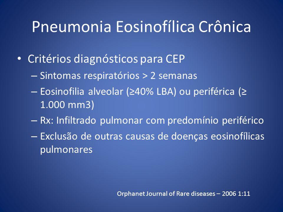 Pneumonia Eosinofílica Crônica Critérios diagnósticos para CEP – Sintomas respiratórios > 2 semanas – Eosinofilia alveolar (40% LBA) ou periférica ( 1