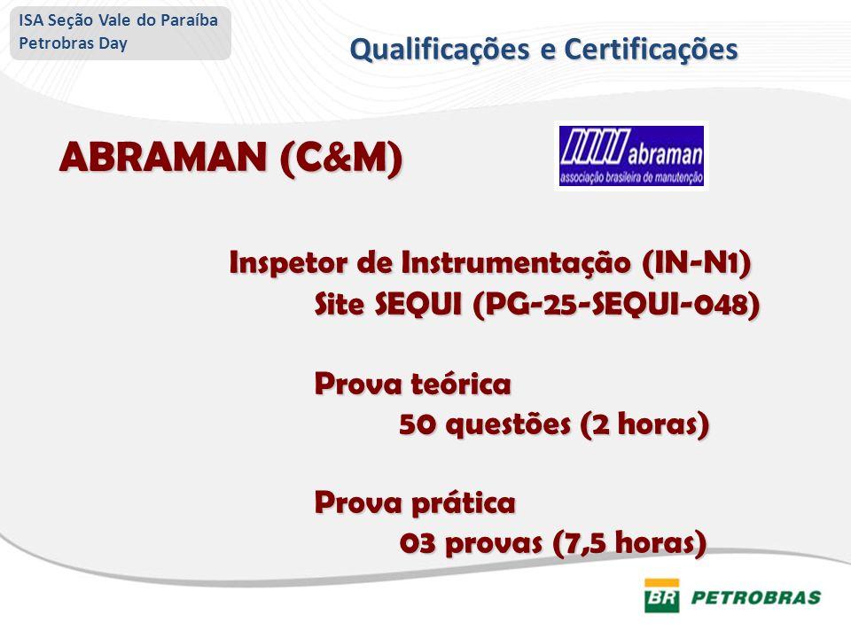 ABRAMAN (C&M) Inspetor de Instrumentação (IN-N1) Site SEQUI (PG-25-SEQUI-048) Site SEQUI (PG-25-SEQUI-048) Prova teórica 50 questões (2 horas) Prova p