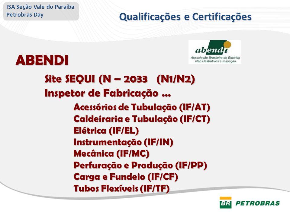 ABENDI Site SEQUI (N – 2033 (N1/N2) Inspetor de Fabricação... Acessórios de Tubulação (IF/AT) Caldeiraria e Tubulação (IF/CT) Elétrica (IF/EL) Instrum