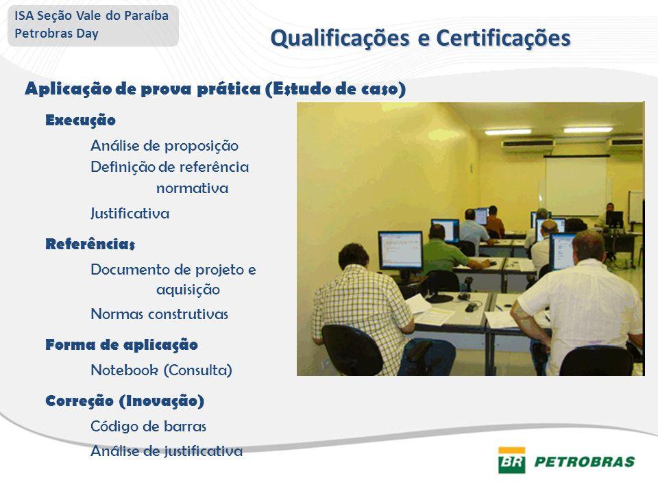 ISA Seção Vale do Paraíba Petrobras Day Aplicação de prova prática (Estudo de caso) Execução Análise de proposição Definição de referência normativa J