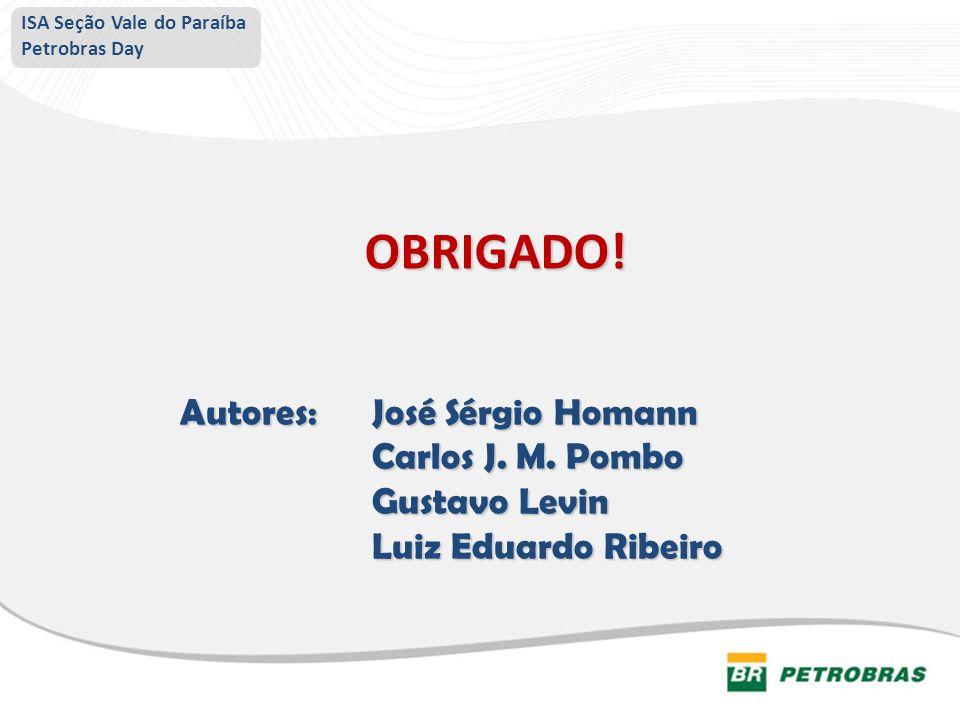 OBRIGADO! Autores:José Sérgio Homann Carlos J. M. Pombo Gustavo Levin Luiz Eduardo Ribeiro ISA Seção Vale do Paraíba Petrobras Day