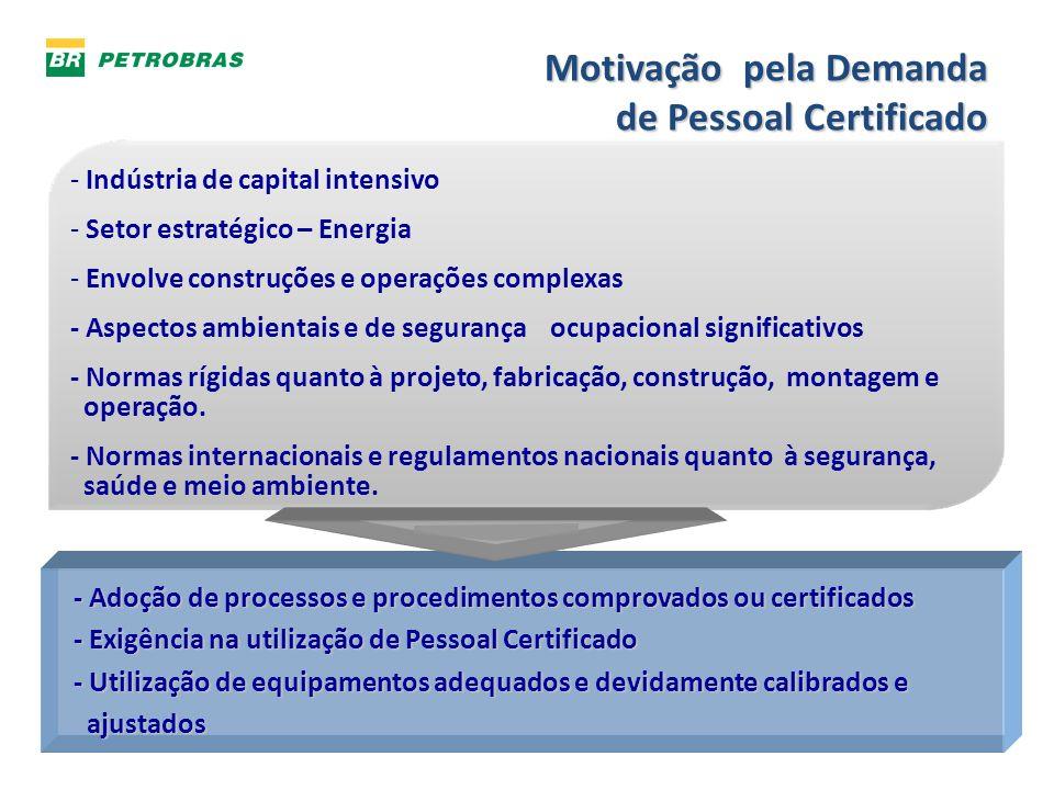 Motivação pela Demanda de Pessoal Certificado - Indústria de capital intensivo - Setor estratégico – Energia - Envolve construções e operações complex