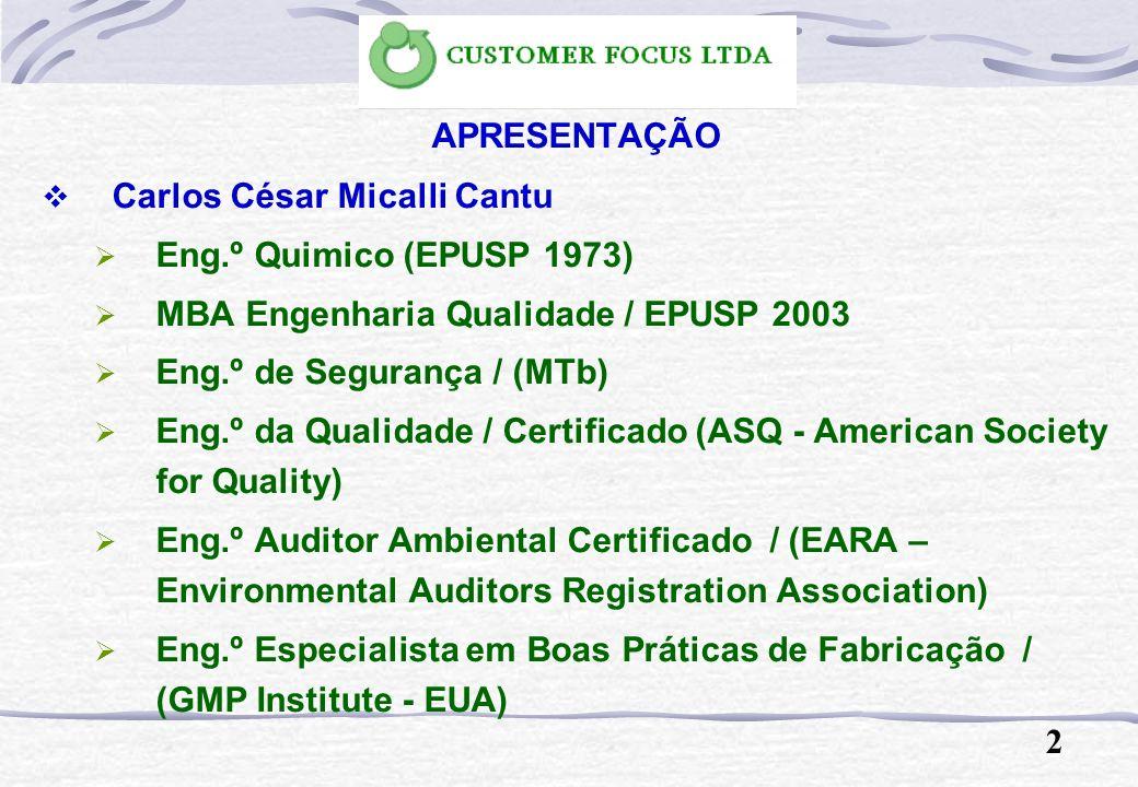 APRESENTAÇÃO Carlos César Micalli Cantu Eng.º Quimico (EPUSP 1973) MBA Engenharia Qualidade / EPUSP 2003 Eng.º de Segurança / (MTb) Eng.º da Qualidade / Certificado (ASQ - American Society for Quality) Eng.º Auditor Ambiental Certificado / (EARA – Environmental Auditors Registration Association) Eng.º Especialista em Boas Práticas de Fabricação / (GMP Institute - EUA) 2