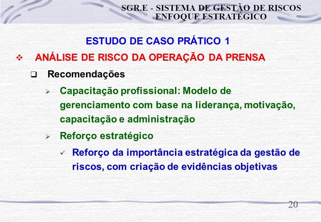 19 ESTUDO DE CASO PRÁTICO 1 ANÁLISE DE RISCO DA OPERAÇÃO DA PRENSA Recomendações Garantia da confiabiliade do controle gerencial: Controle operacional