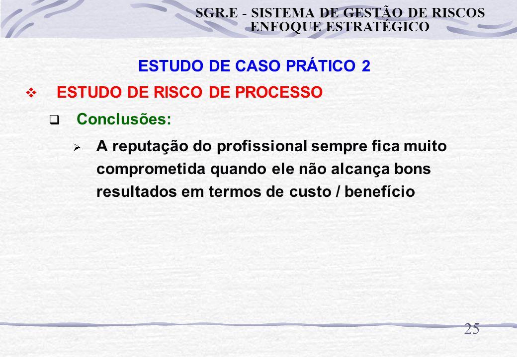 24 ESTUDO DE CASO PRÁTICO 2 ESTUDO DE RISCO DE PROCESSO Conclusões: A abordagem puramente técnica pode não gerar uma solução adequada em termos de cus