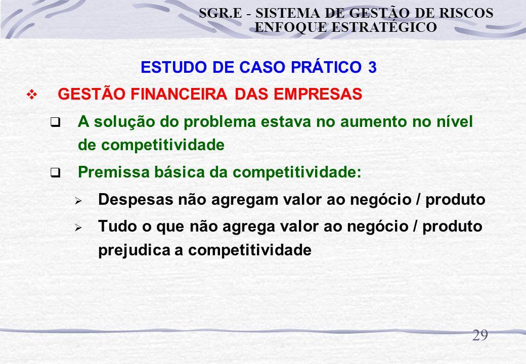 28 ESTUDO DE CASO PRÁTICO 3 GESTÃO FINANCEIRA DAS EMPRESAS Durante muito tempo essas despesas não se constituiram em grandes problemas para as empresa
