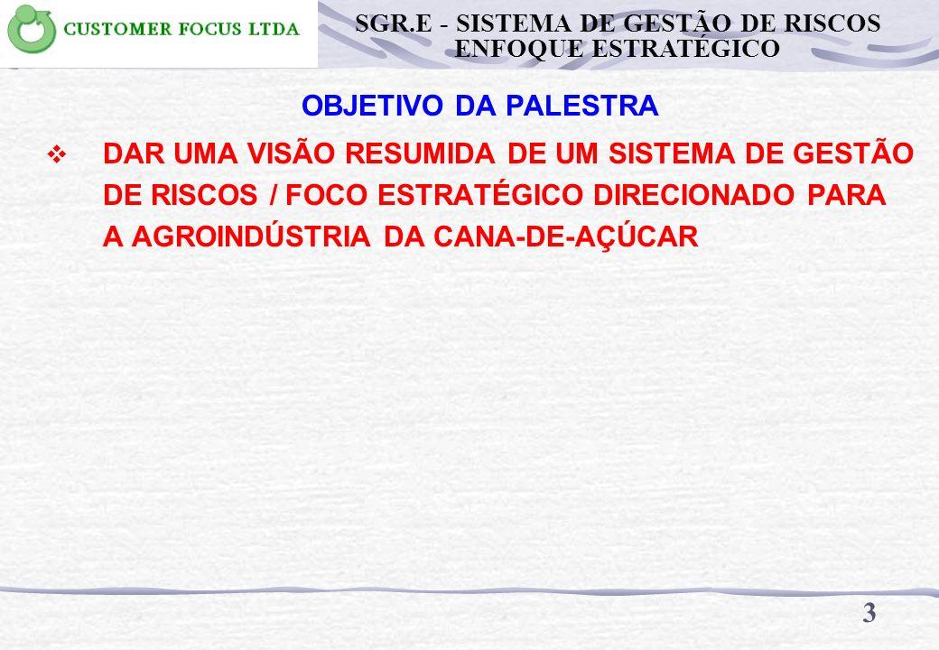 OBJETIVO DA PALESTRA DAR UMA VISÃO RESUMIDA DE UM SISTEMA DE GESTÃO DE RISCOS / FOCO ESTRATÉGICO DIRECIONADO PARA A AGROINDÚSTRIA DA CANA-DE-AÇÚCAR 3 SGR.E - SISTEMA DE GESTÃO DE RISCOS ENFOQUE ESTRATÉGICO