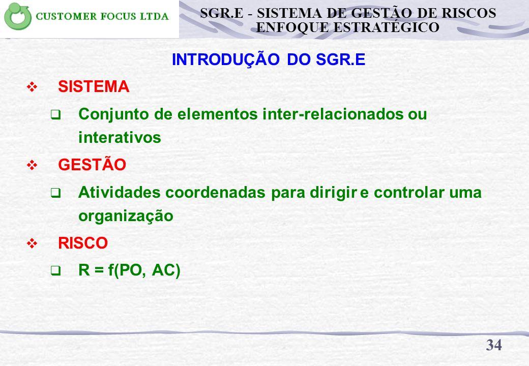 O NOSSO TRABALHO SE RESUME AGORA EM ANALISAR AS BASES TÉCNICAS PARA O SGR.E 33 SGR.E - SISTEMA DE GESTÃO DE RISCOS ENFOQUE ESTRATÉGICO