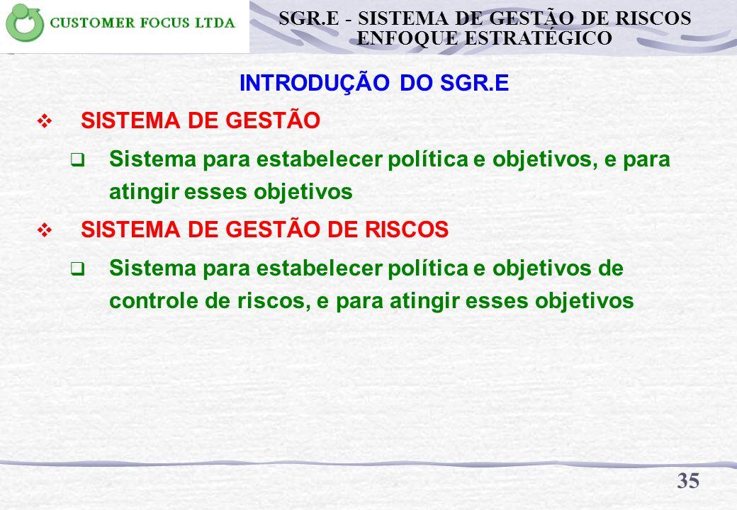 34 SGR.E - SISTEMA DE GESTÃO DE RISCOS ENFOQUE ESTRATÉGICO INTRODUÇÃO DO SGR.E SISTEMA Conjunto de elementos inter-relacionados ou interativos GESTÃO