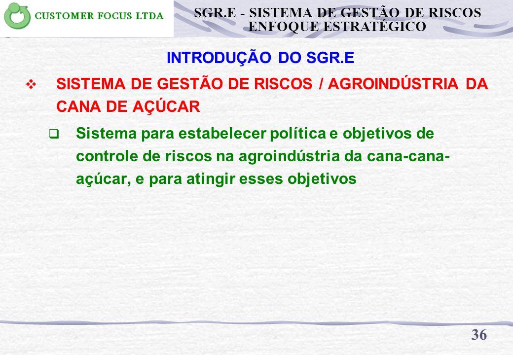 35 SGR.E - SISTEMA DE GESTÃO DE RISCOS ENFOQUE ESTRATÉGICO INTRODUÇÃO DO SGR.E SISTEMA DE GESTÃO Sistema para estabelecer política e objetivos, e para