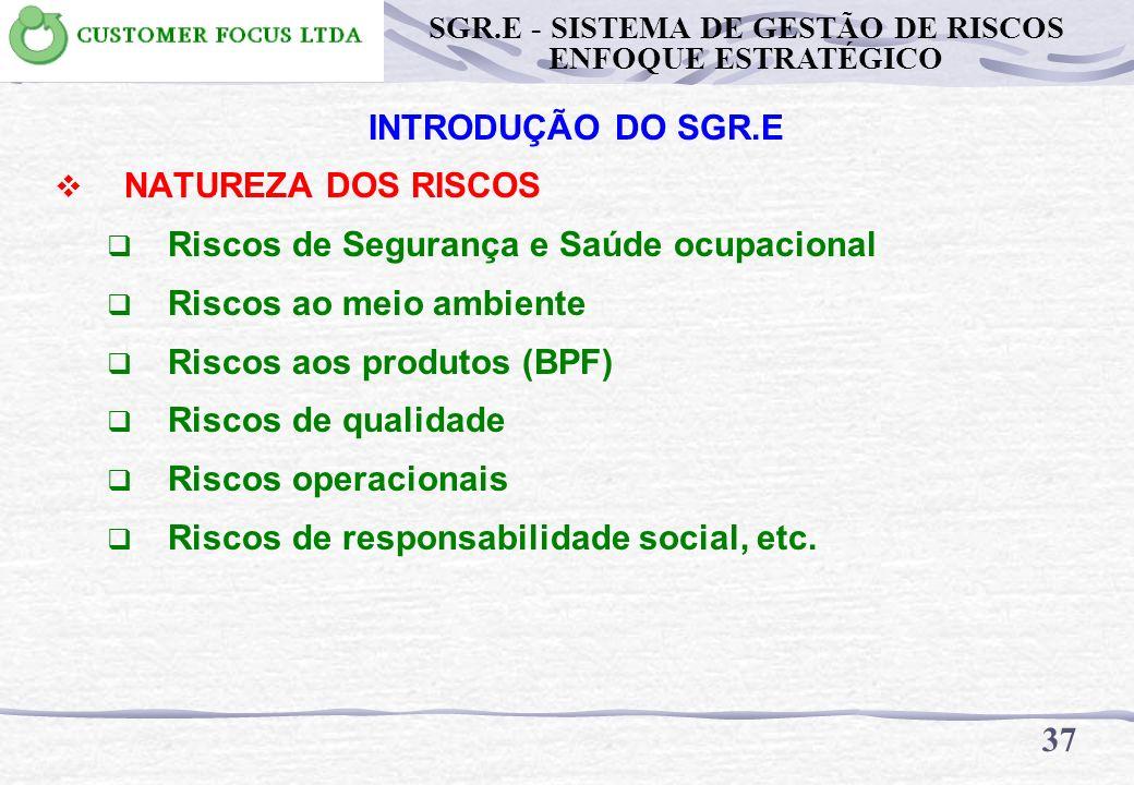 36 SGR.E - SISTEMA DE GESTÃO DE RISCOS ENFOQUE ESTRATÉGICO INTRODUÇÃO DO SGR.E SISTEMA DE GESTÃO DE RISCOS / AGROINDÚSTRIA DA CANA DE AÇÚCAR Sistema p