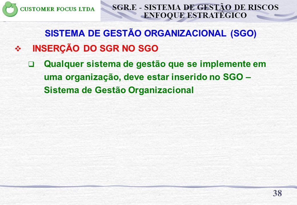 37 SGR.E - SISTEMA DE GESTÃO DE RISCOS ENFOQUE ESTRATÉGICO INTRODUÇÃO DO SGR.E NATUREZA DOS RISCOS Riscos de Segurança e Saúde ocupacional Riscos ao m