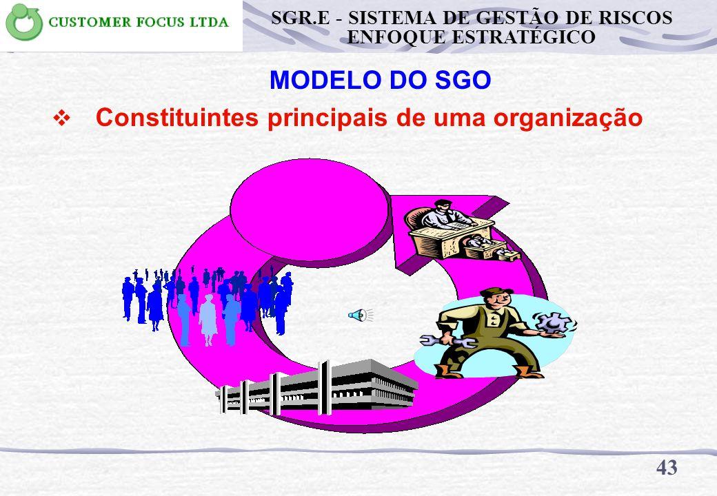 MODELO DO SGO Constituintes principais de uma organização 42 SGR.E - SISTEMA DE GESTÃO DE RISCOS ENFOQUE ESTRATÉGICO