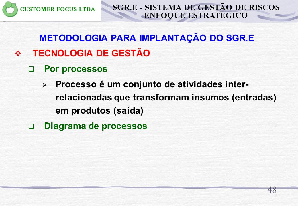 INSERÇÃO DO SGR no SGO 47 SGR SGO PGR SGR.E - SISTEMA DE GESTÃO DE RISCOS ENFOQUE ESTRATÉGICO